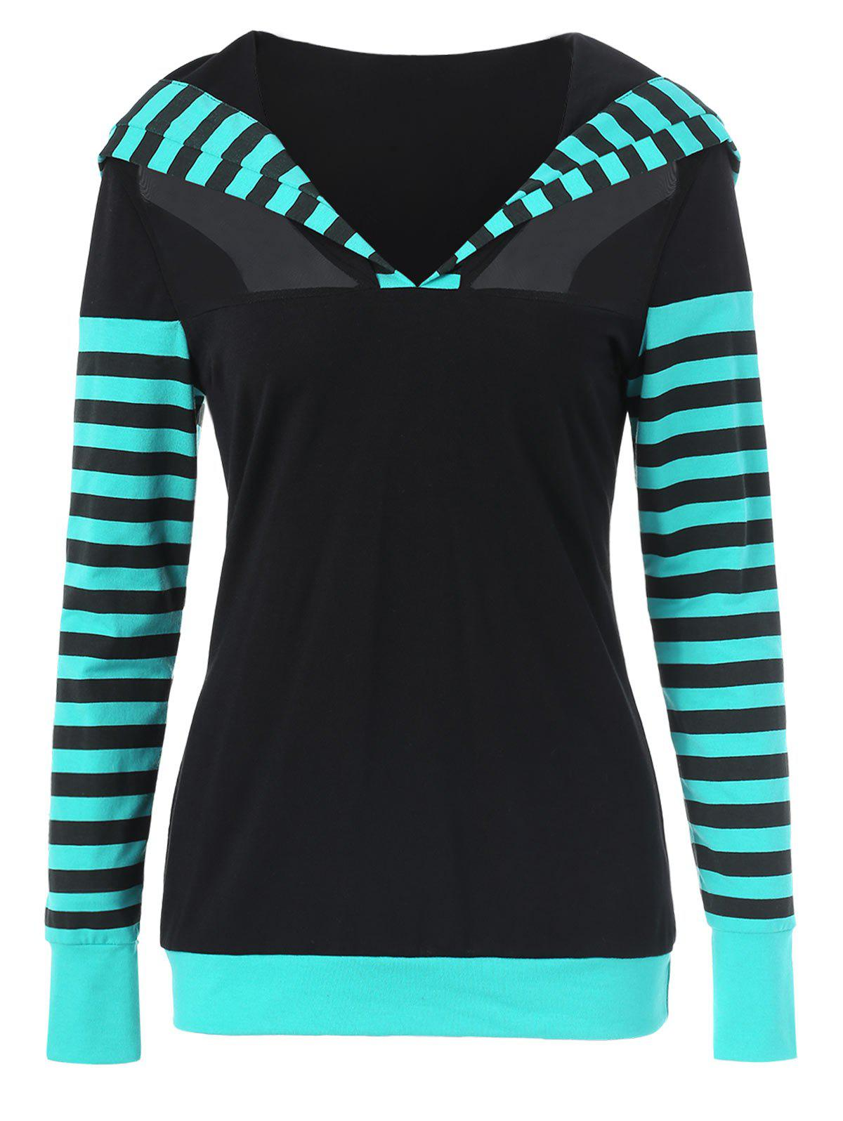 Outfits Stripe Trim Mesh Insert Hoodie