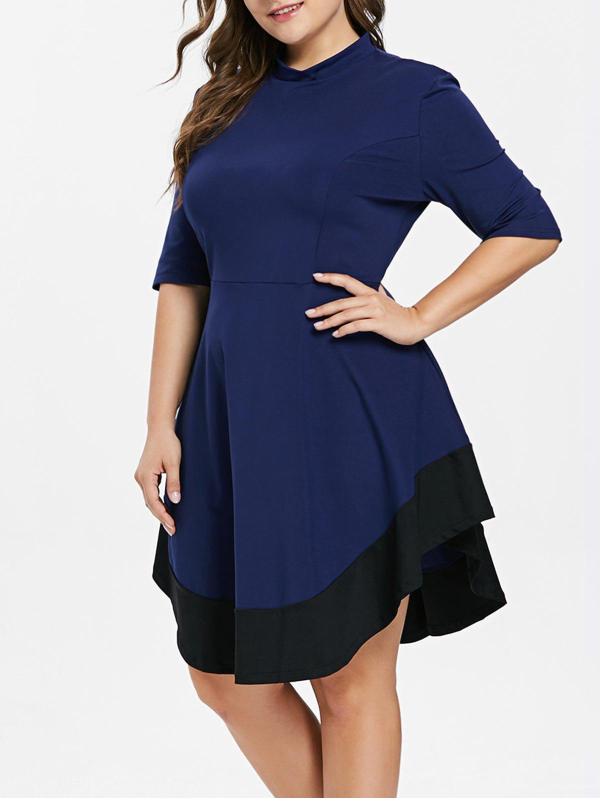 45% OFF] Plus Size Two Tone Swing Dress | Rosegal