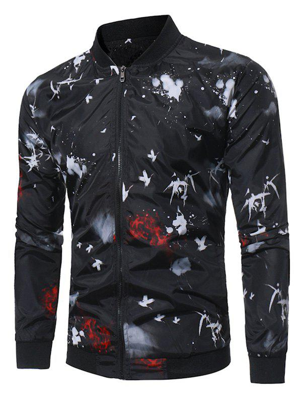 Unique Zip Up Crane Paint Splatter Baseball Jacket