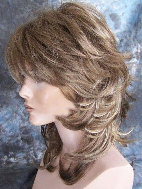 Shops Medium Side Bang Colormix Layered Slightly Curly Synthetic Wig