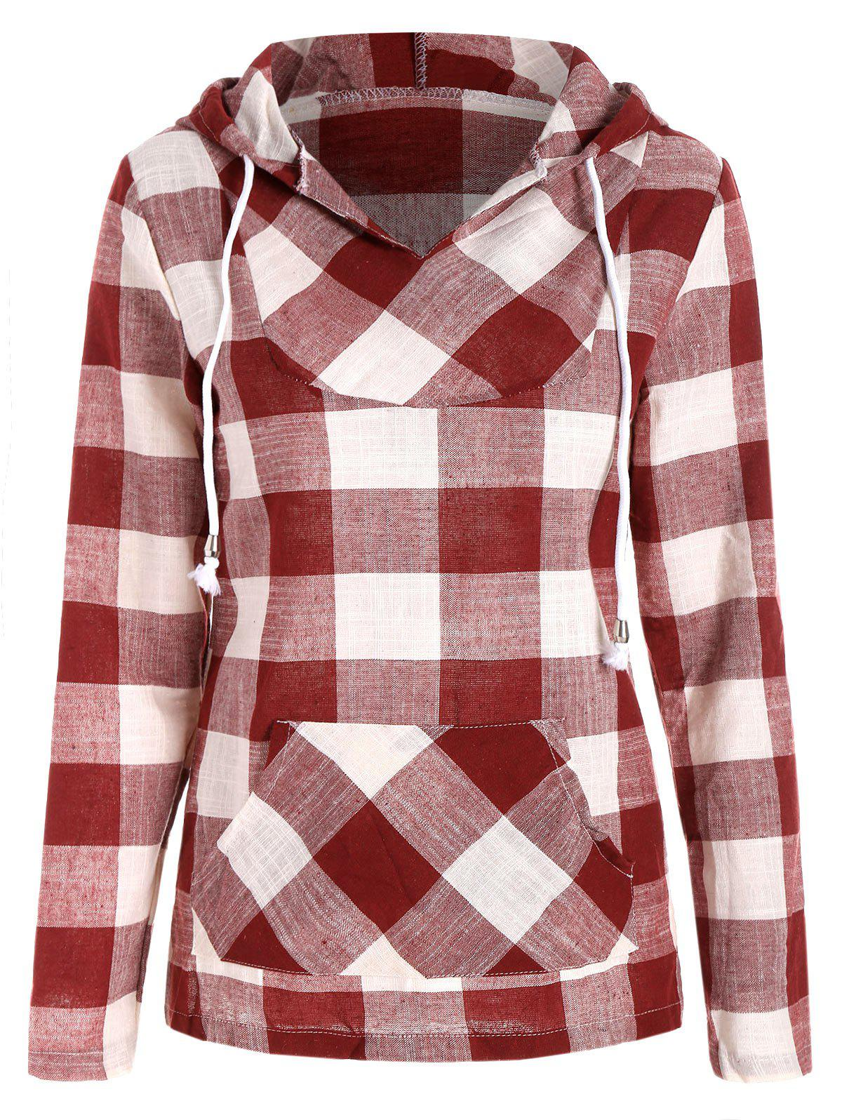 Chic Plaid Kangaroo Pocket Hoodie