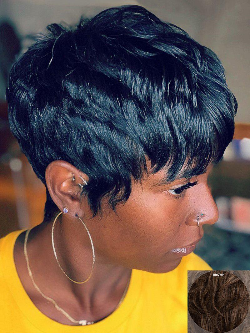 Latest Short Inclined Bang Layered Natural Straight Human Hair Wig