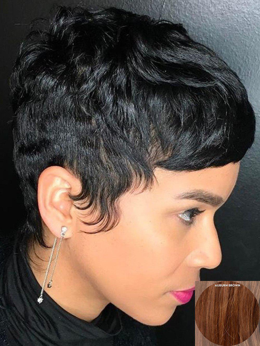 Chic Short Inclined Fringe Slightly Curly Pixie Human Hair Wig