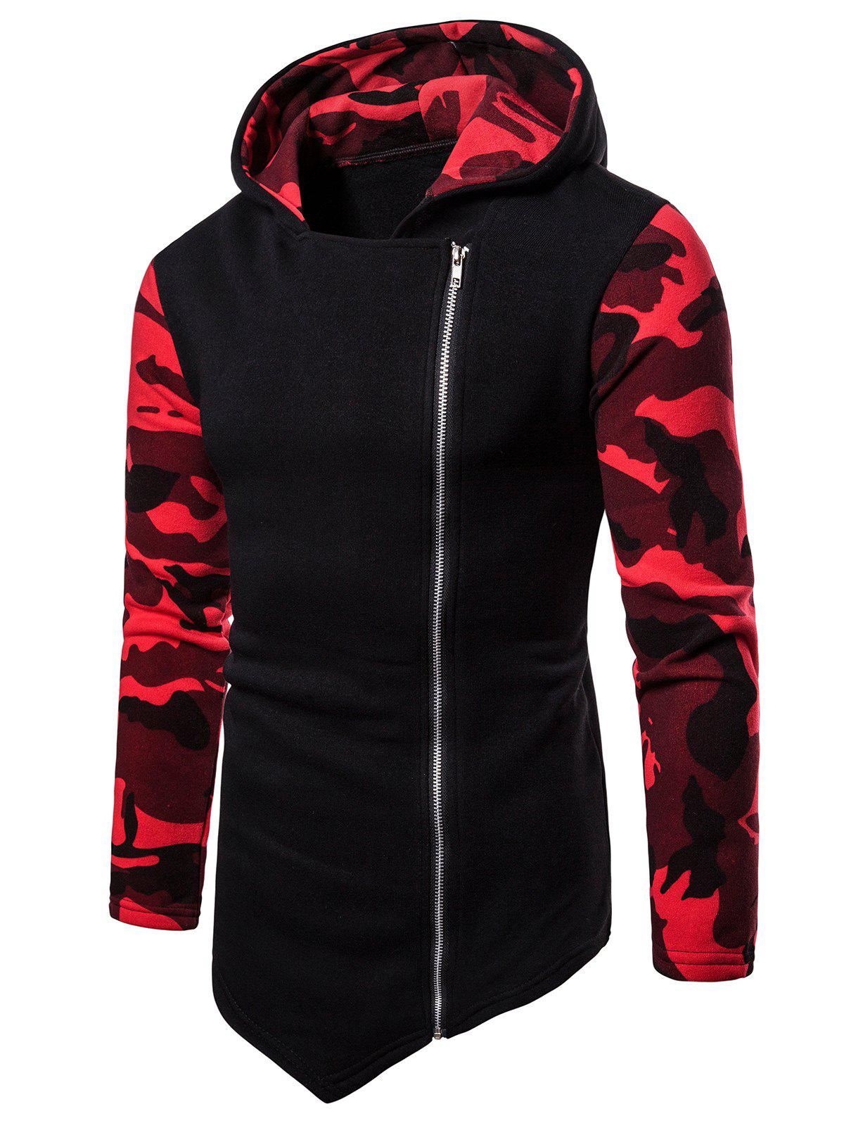 Unique Asymmetric Zip Up Camo Panel Hoodie
