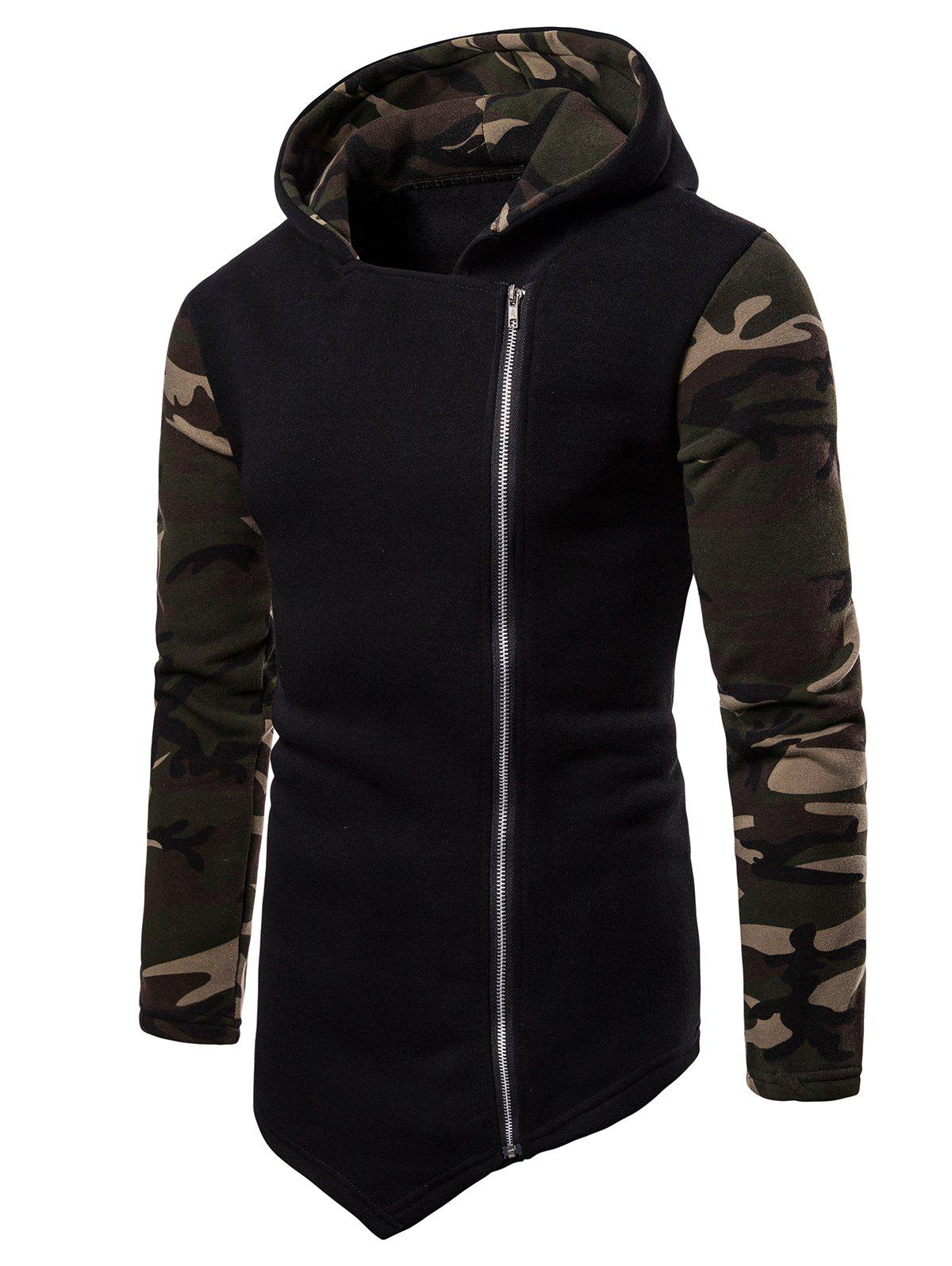 Outfit Asymmetric Zip Up Camo Panel Hoodie