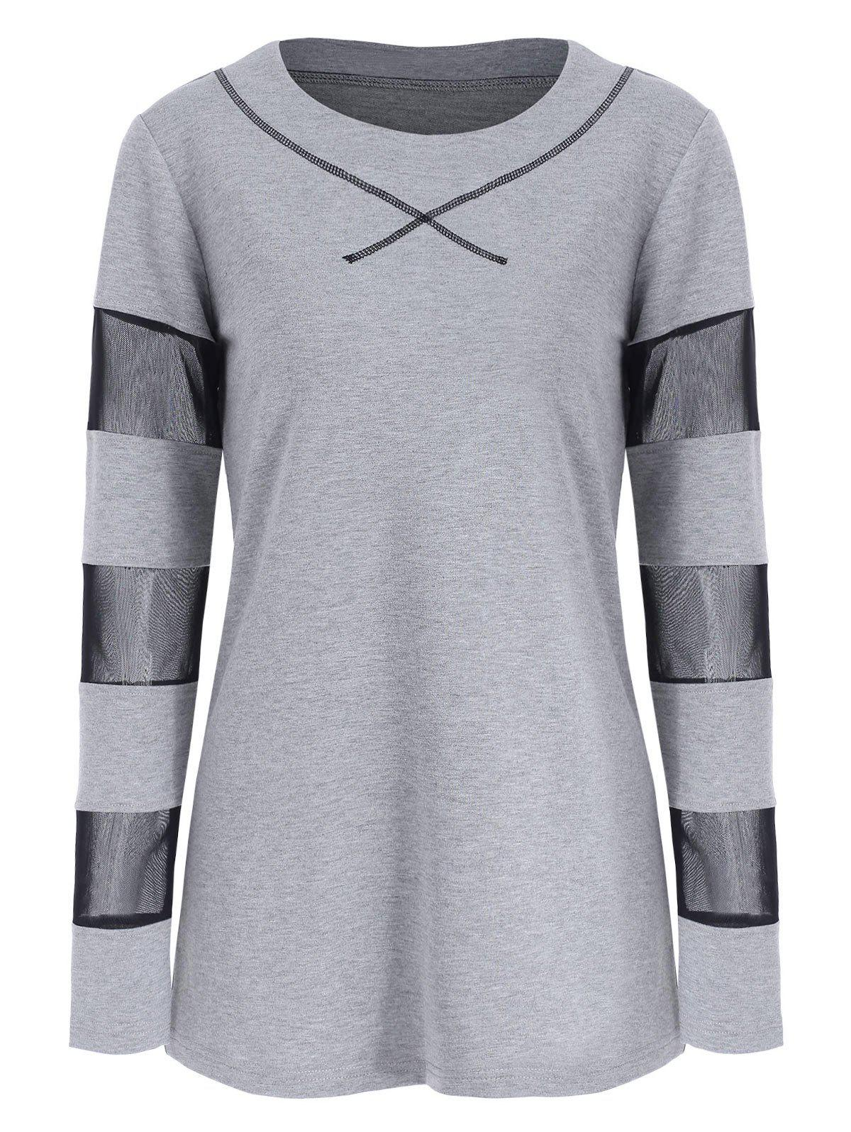 Outfits Full Sleeve See through Mesh Insert T-shirt