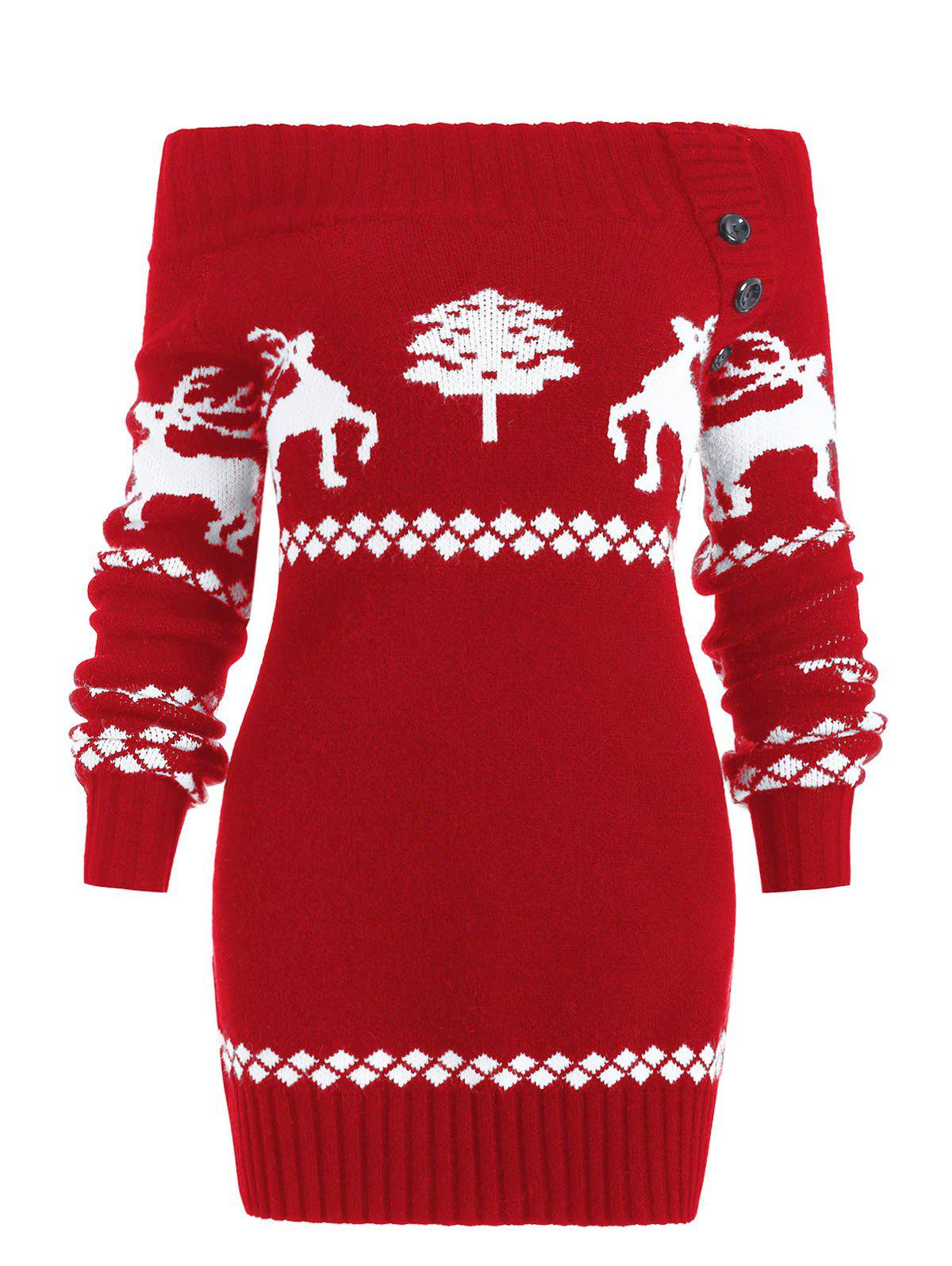 Shop Reindeer Off The Shoulder Knit Tunic Sweater