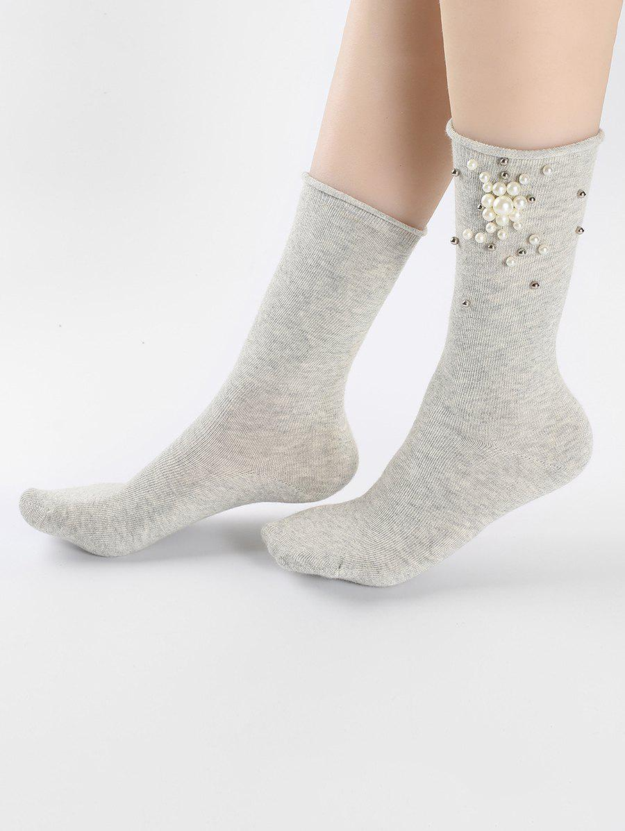 latest buy popular best cheap Vintage Faux Pearl Floral Ankle Socks
