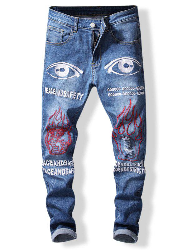 Online Zip Fly Letter and Eyes Print Jeans