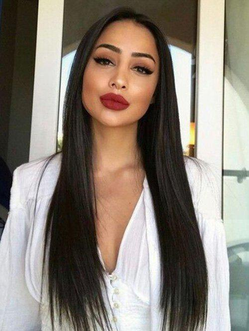 Trendy Long Center Parting Straight Synthetic Lace Front Wig