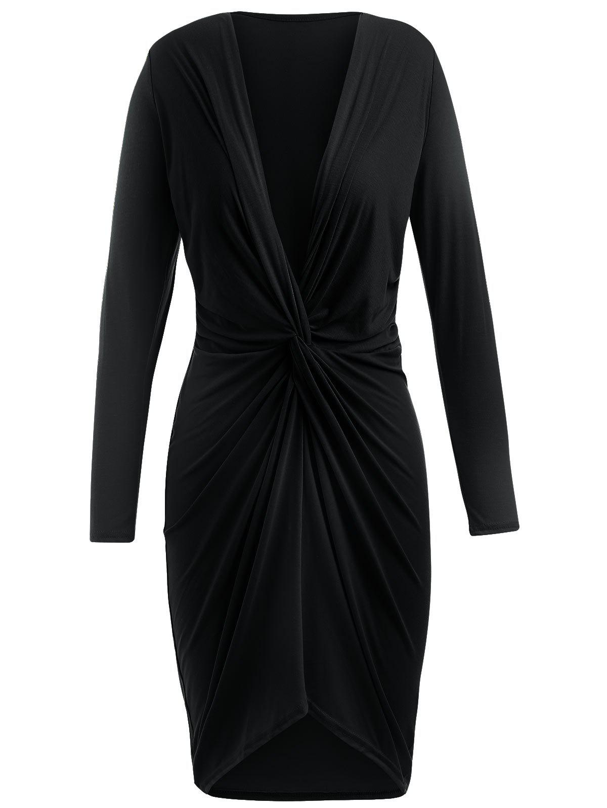 New Knotted Front Full Sleeve Asymmetrical Dress