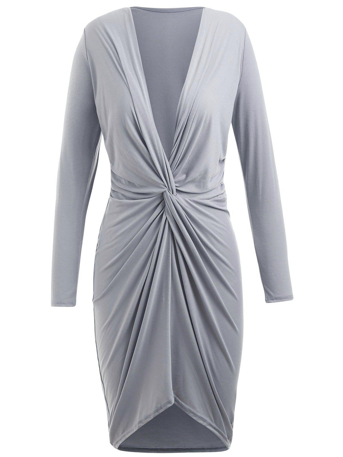 Buy Knotted Front Full Sleeve Asymmetrical Dress