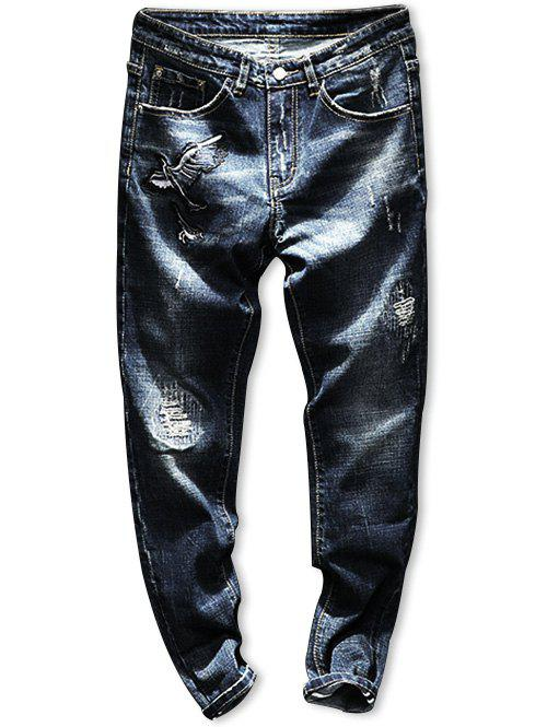 Affordable Ripped Zip Fly Embroidery Crane Jeans