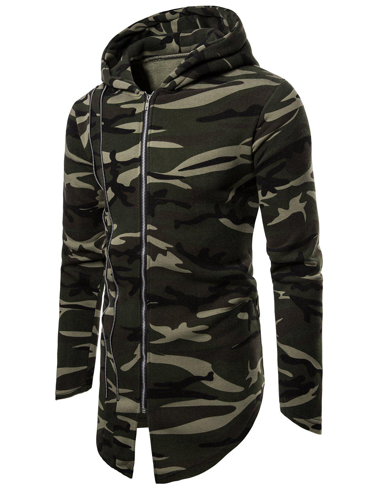 Affordable Long Sleeve Zip Up Camo Hoodie