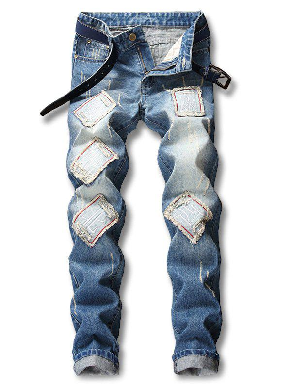 Buy Chinese Character Poker Applique Embellished Zipper Jeans