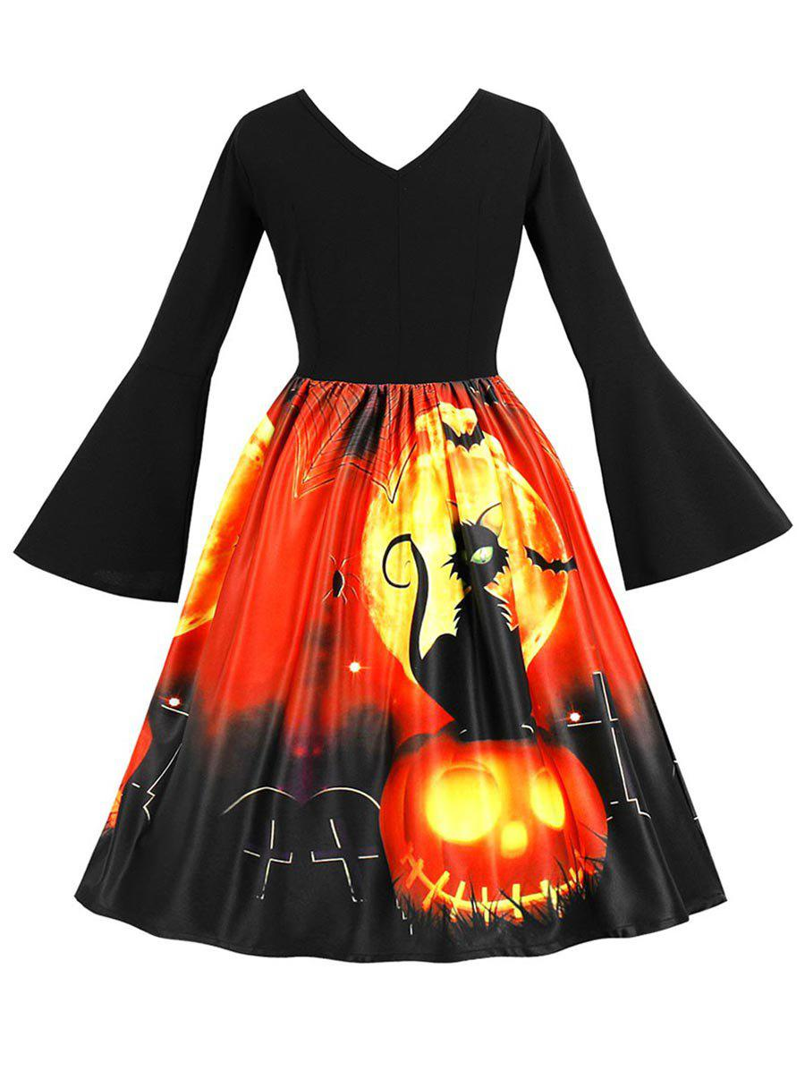 Fashion Plus Size Pumpkin Lantern and Cat Pattern A Line Dress