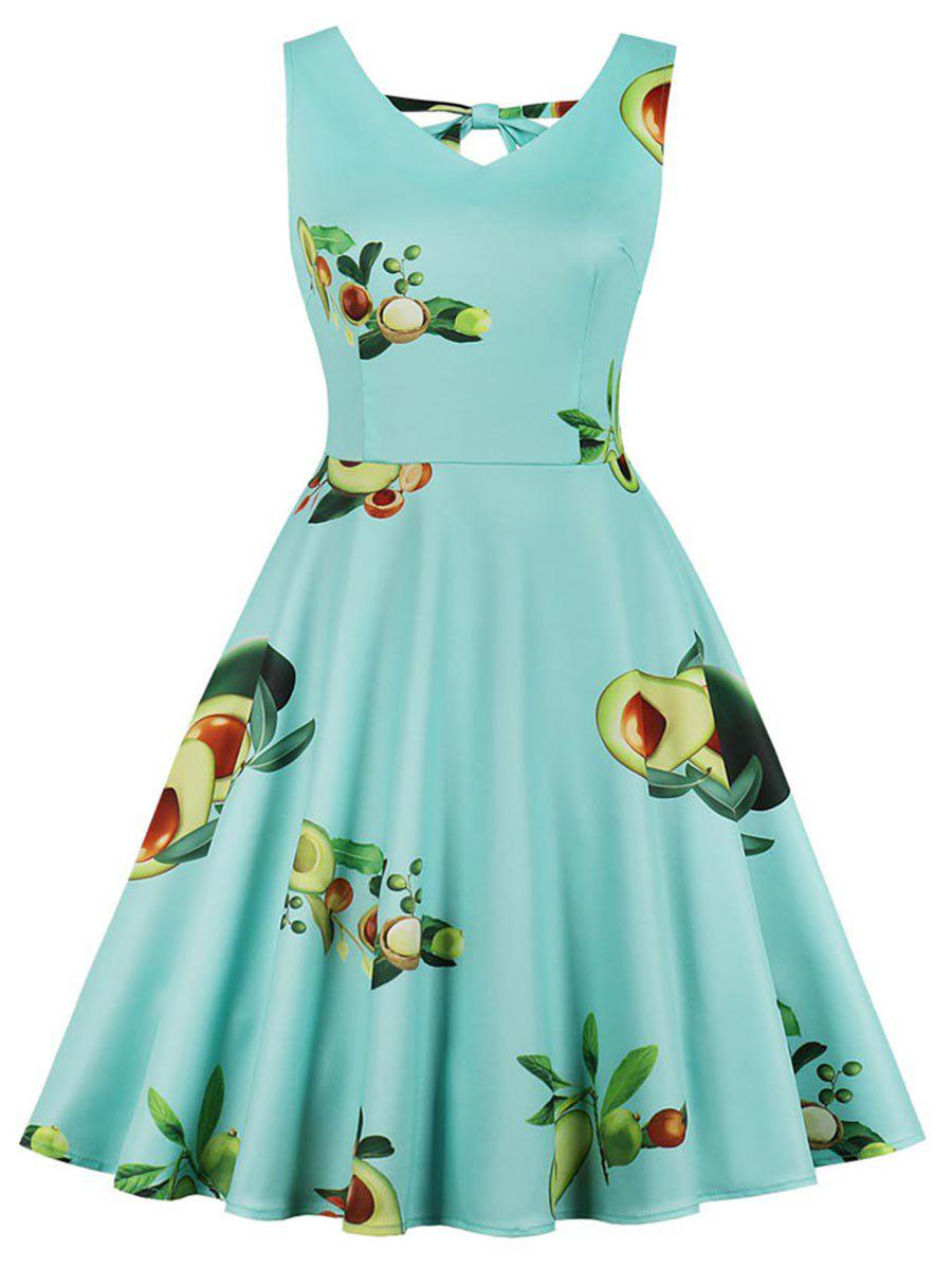 Sale Avocado Print Plus Size Back Cut Out A Line Dress