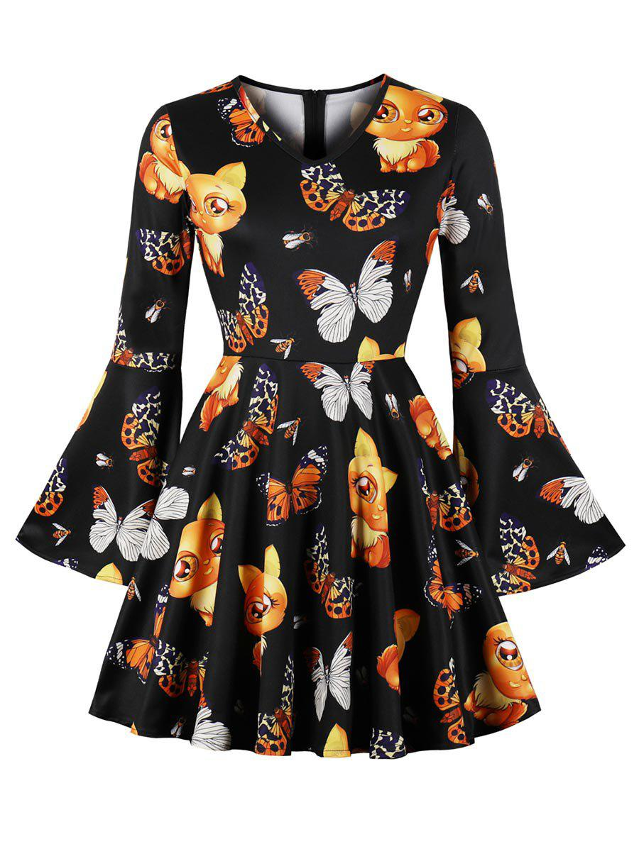 Sale Butterfly Print Plus Size Bell Sleeve A Line Dress