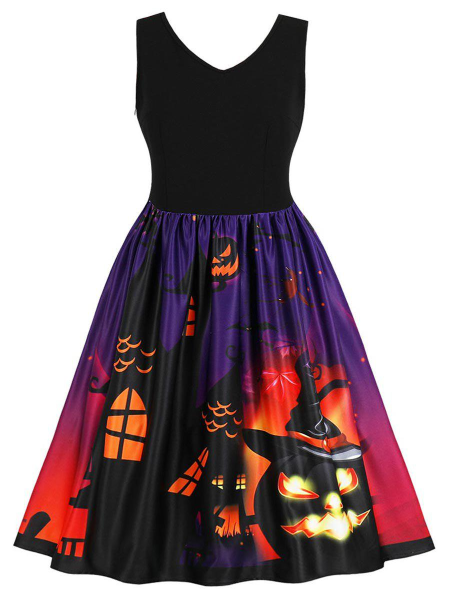 Affordable Halloween Plus Size Pumpkin Pattern A Line Dress