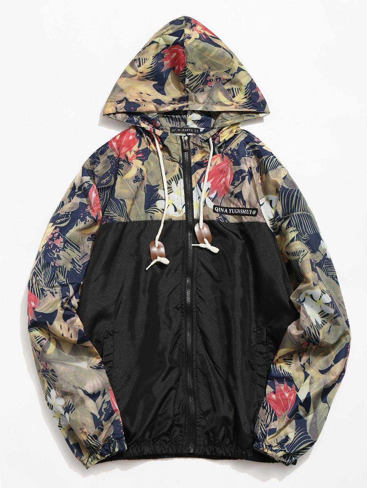 Cheap Casual Floral Printed Zipper Placket Jacket