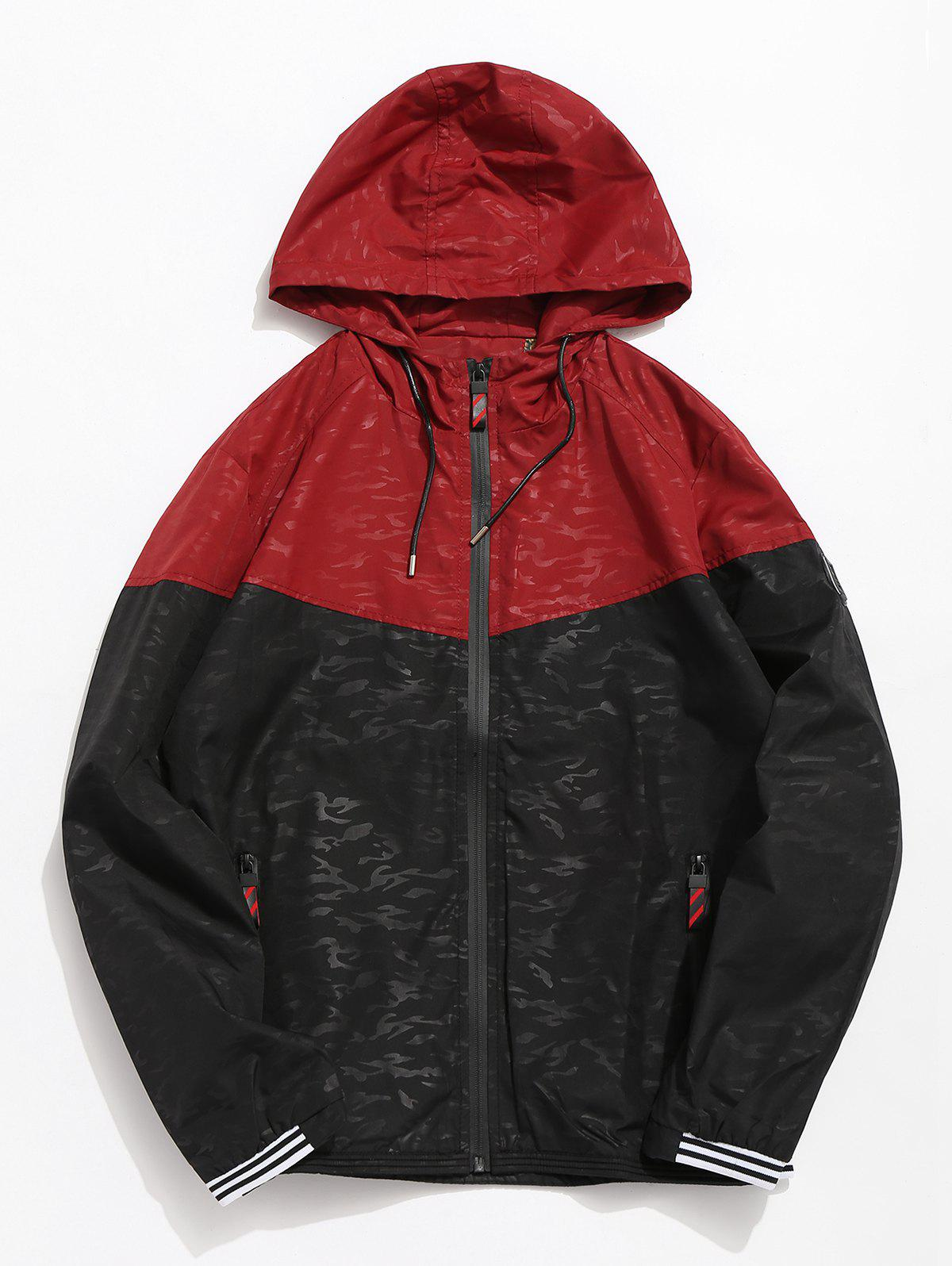 Sale Casual Color Block Hooded Jacket