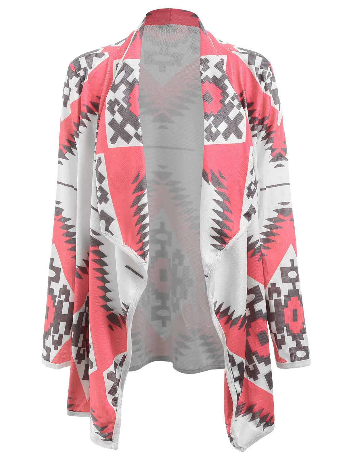 Best Stylish Turn-Down Collar Long Sleeve Geometric Print Women's Cardigan