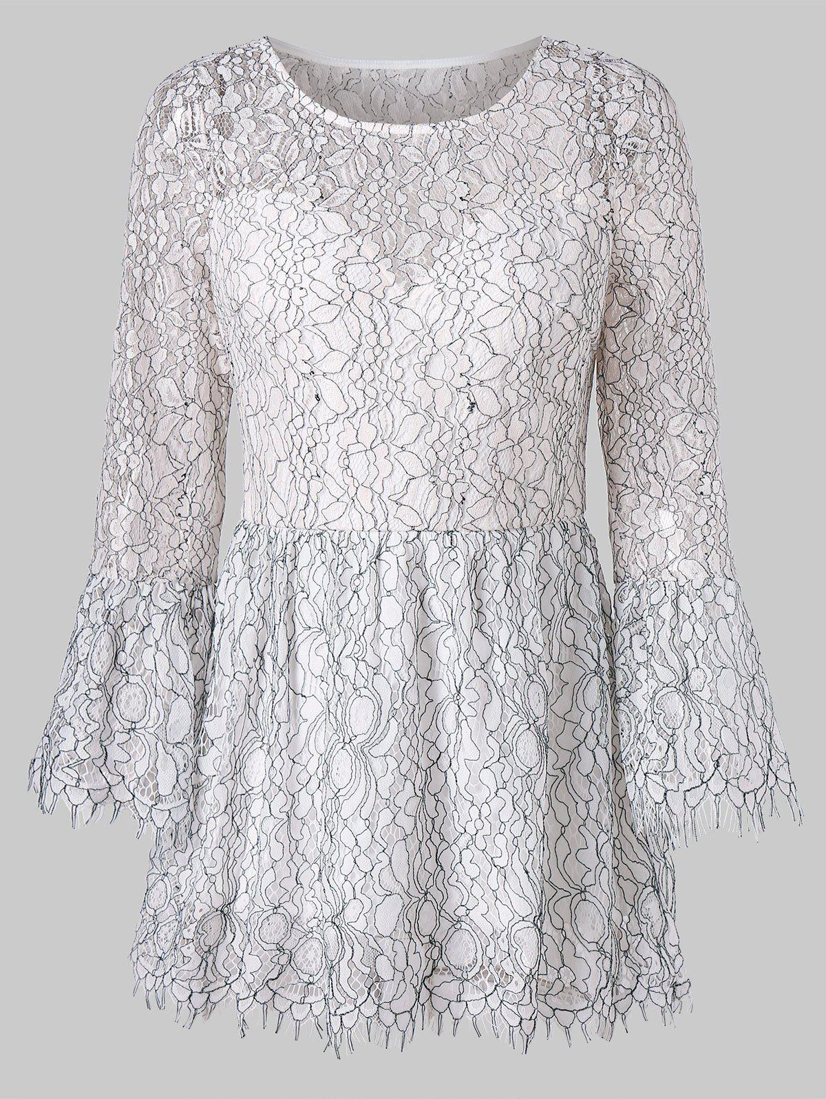 Trendy Flare Sleeve Lace Peplum Blouse