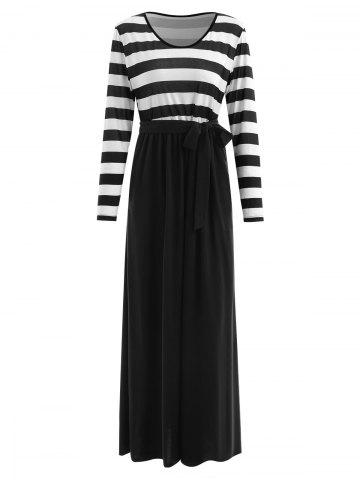 Belted Striped Panel Maxi Dress