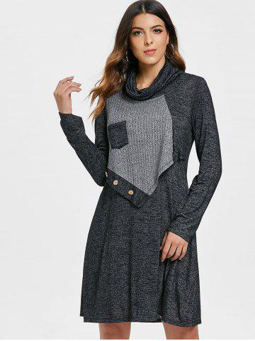 Contrast Overlay Turtleneck Marled Dress