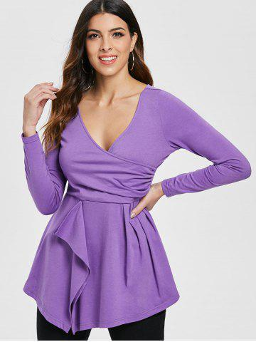 Full Sleeve Ruched Surplice T-shirt