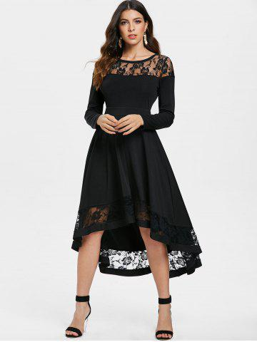 Lace Trim Full Sleeve Midi Dress, Black