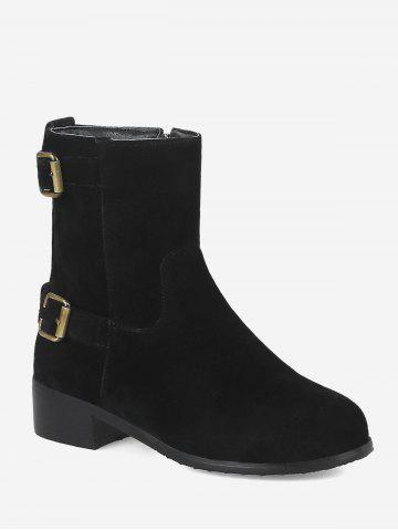 Plus Size Buckle Strap Suede Ankle Boots