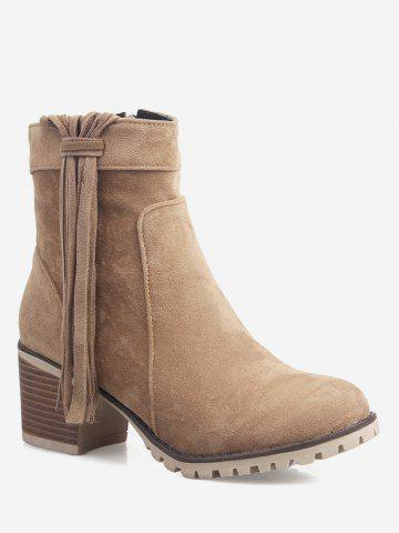 Plus Size Tassels Stacked Heel Ankle Boots