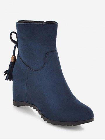 Tassels Embellished Suede Plus Size Ankle Boots