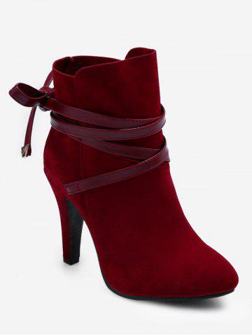 Plus Size Bowknot Cone Heel Suede Boots