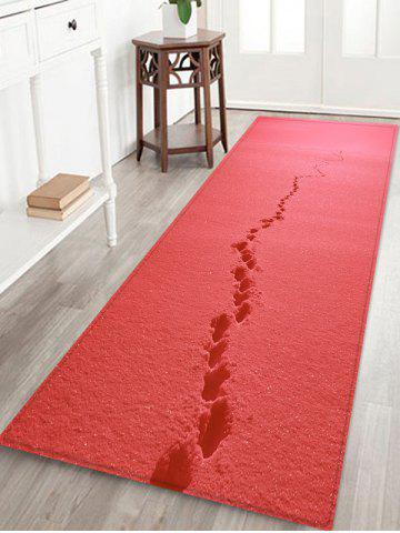 Footprint In Snow Pattern Water Absorption Area Rug - RED - W16 X L47 INCH