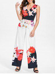 Low Cut Floral Wide Leg Surplice Jumpsuit -