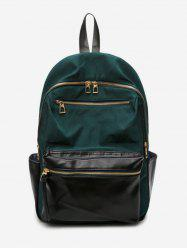 Zip Pocket Contrast Color Travel Backpack -