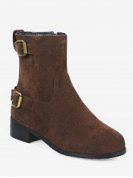 Plus Size Buckle Strap Suede Ankle Boots -