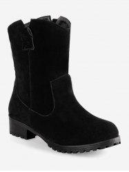 Plus Size Slip-on Flat Short Boots -