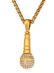 Shiny Rhinestone Microphone Pendant Necklace -