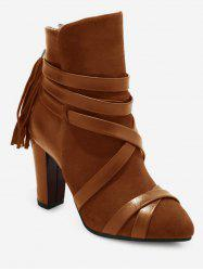 Plus Size Tassels Decorative Chunky Heel Short Boots -