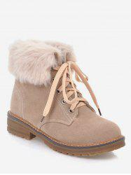 Plus Size Lace Up Sewing Low Heel Ankle Boots -