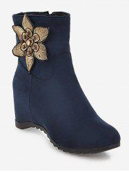 Plus Size Suede Flower Embellished Ankle Boots -