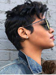 Short Side Bang Layer Slightly Curly Human Hair Wig -