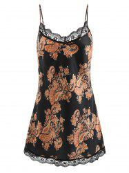 Spaghetti Strap Print Satin Sleeping Dress -