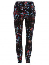 Floral and Plaid Print Stretchy Leggings -
