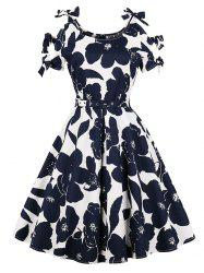 Belted Floral Print Plus Size A Line Dress -