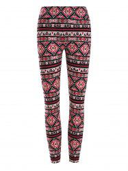 High Waisted Geometric Patterned Leggings -