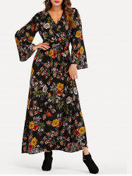 Flare Sleeve Floral Print Maxi Dress -